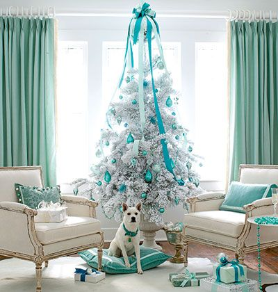 white and blue christmas
