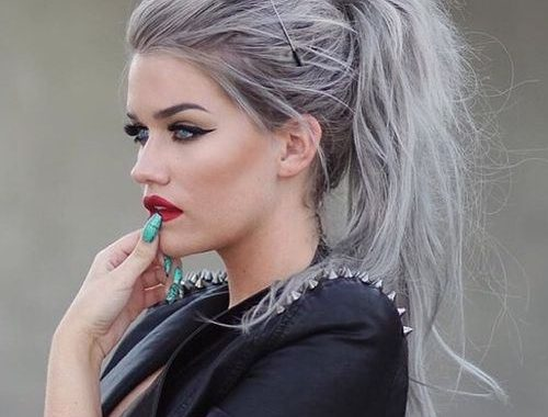 gray hair in ponytail pictures