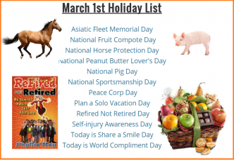 horse day, pig day, peace corps day, plan a solo vacatino day, self injury day