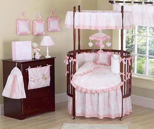 vintage-french-pink-toile-baby-bedding-9-pc-round-crib-set-33
