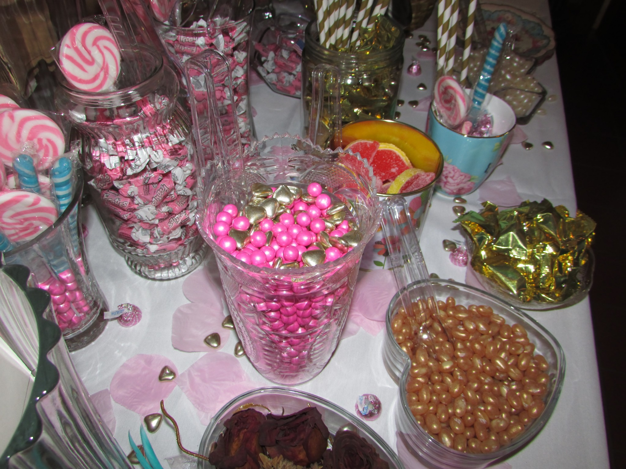 gold candy and pink candy in bulk