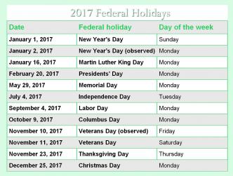 2017 CALENDAR HOLIDAYS